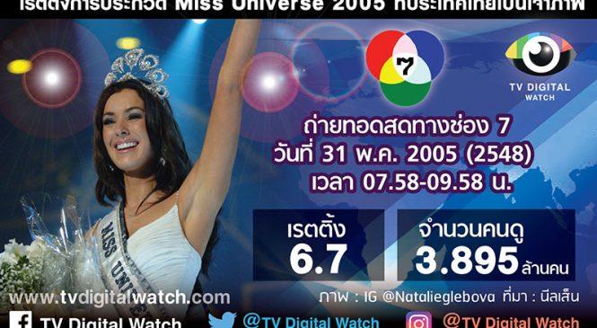 ย้อนรอยเรตติ้งถ่ายทอดสด Miss Universe 2005 ที่ประเทศไทย ก่อนถ่ายทอดสด Miss Universe 2018 17 ธค.นี้