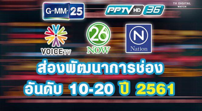 ส่องพัฒนาการช่องอันดับ 10-20 ปี 2561 : นาว26, พีพีทีวี, จีเอ็มเอ็ม25 , เนชั่นทีวี และวอยซ์ทีวีโดดเด่นสุด