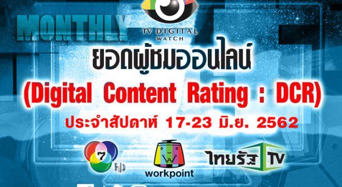 ดิจิทัลเรตติ้งประจำสัปดาห์: ยอดวิวย้อนหลัง ละครช่อง 7 ,รายการเวิร์คพอยท์ และข่าวไทยรัฐ