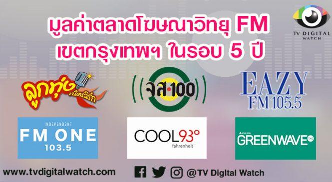มูลค่าตลาดโฆษณาวิทยุ FM เขตกรุงเทพฯ ในรอบ 5 ปี