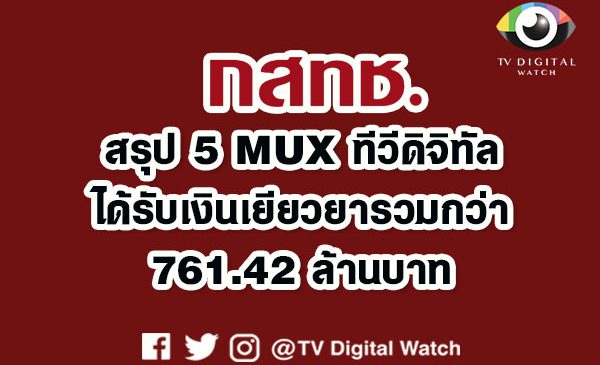 ได้ข้อสรุป 5 MUX ทีวีดิจิทัล ได้รับเงินเยียวยาจาก กสทช.รวมกว่า 761.42 ล้านบาท